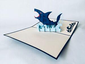 Hai, 3D-Klappkarten, Pop-up Karten, Glückwunschkarte, Grußkarte,
