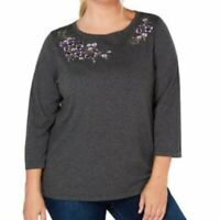 Karen Scott Gray Floral Embroidered 3/4 Sleeve Top Womens Size 0X 1X 2X 3X