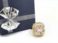 14k Yellow Gold Natural Aquamarine and Natural Diamond Ring