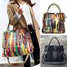 Multicolor Patch Real Leather Shoulder Bag Tote Handbag Purse Crossbody 2 Handle