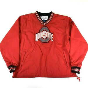 NEW NWOT OHIO STATE OSU Buckeyes Champion Lined Windbreaker Pullover Jacket Coat