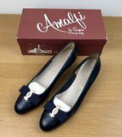Amalfi Rangoni All Leather Court Shoes Navy Blue Size 6 Slip On Bow Block Heel