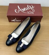 Amalfi Rangoni All Leather Court Shoes Navy Blue Size 6 Slip On Bow Block Heel