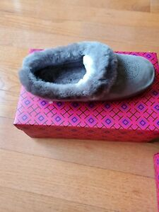 Tory Burch NIB Coley Perforated Slippers Deep Split Suede Grey Size 7
