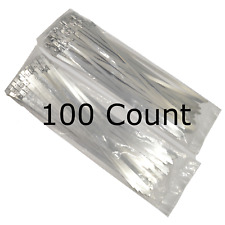 """14"""" QTY 100 Stainless Steel Wire Zip Tie Industrial Strength Self Locking Band"""