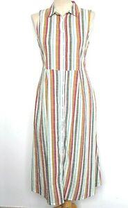 NWT FatFace Jennifer Dress Multi Stripe Sleeveless Shirt Style Midi 14 RRP £49
