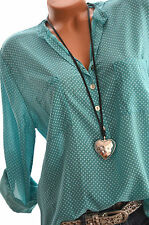 ITALY MODE Tunika Oversize Hemd DOTS Bluse Fischerhemd SMARAGD TÜRKIS 44 46 Neu