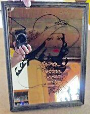 Ancien Miroir de Bar Publicitaire Vintage Visage d'une femme des années 1950