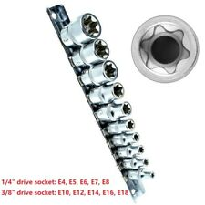 "10-Piece Female Torx Star Socket Set External E Type E4-E24 3/8"" 1/4"" Drive Rail"