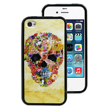 Flower Skull Printed Hard Back Case for Apple iPhone 4S 4 Butterfly Cover 4G