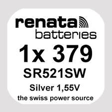1x Renata 379 Uhren-Batterie Knopfzelle SR521SW AG0 Silberoxid Blisterware Neu