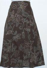 Apt. 9 Ladies Semi Pleated Floral Skirt Molasses Twelve (12) NWT