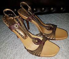 BCBG Girls Gold Strappy Heels Sandals Women Size 8