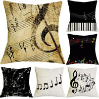 "18"" Fashion Music Pattern Cotton Linen Home Decoration Cushion Cover Pillow Case"