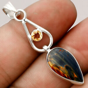 Pietersite - Namibia and Citrine 925 Sterling Silver Pendant Jewelry 6011