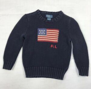Kids Polo Ralph Lauren Flag Knit Jumper, Blue, Age 4/4T, Pullover Sweater, GC