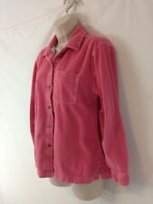 LL Bean Womens M Pink Flannel Lined Wide Wale Corduroy Button Front Shirt