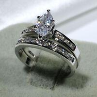 18K White Gold Filled CZ Promise Wedding Women's Band Ring Set R3595 Size 5-10