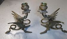 Vtg Pair of Brass Griffin Dragon Candle Holders Rare Collectibles Free Ship