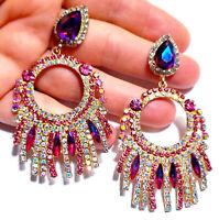 3.1 in Pink Chandelier Earrings Rhinestone Multi Color Crystal