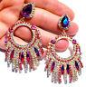 CLIP ON Chandelier Earrings Rhinestone 3.1 in Pink Multi Color Crystal
