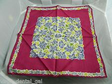 Vintage Magenta, Purple, Yellow, Green Floral Cotton Handkerchief