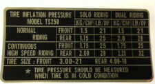 SUZUKI TS250 TYRE PRESSURE CAUTION LABEL