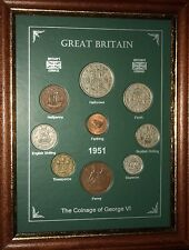 FRAMED 1951 COIN YEAR SET (RETRO 66th BIRTHDAY PRESENT WEDDING ANNIVERSARY GIFT)