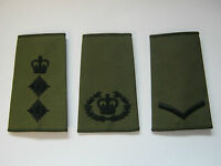 Regimental Rank Slide Olive Green Black Embroidery - British Army  1 PAIR