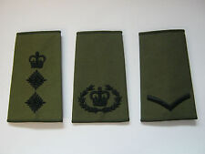 Regimental Rank Slide Olive Green with  Black Embroidery - British Army