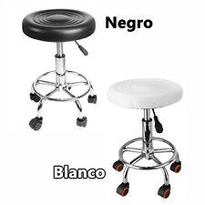 Negro / Blanco Silla PU Cuero Sintético Taburete Ajustable Giratorio Salón Spa
