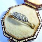 Antique Art Deco 18ct Gold, Platinum & Diamond Three Stone Ring, Size O