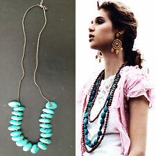 DRIES VAN NOTEN ANTWERP BELGIUM RESINE TURQUOISE CHUNKY NECKLACE COLLIER