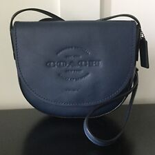 NWT COACH Hudson Crossbody Natural Smooth Leather Midnight Blue Antique  Nickel c550d929be