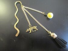 Hufflepuff House Harry Potter Metal Charm Bookmark, Gold Black, badger, wave
