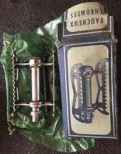 """9/16"""" NOS Vintage LYOTARD France Lucien Faucheux CHROME Pedals PISTA Randonneur"""