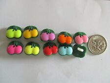 10 x 12mm x 13mm  Plastic Buttons Novelty Cherry Fruit Pieces  1 Loop - No.C274