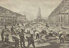 A1178 Le grandi gallerie in costruzione al Sempione - Stampa Antica del 1905