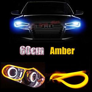 2x 60cm Yellow Soft Tube LED Strip Lights For Car Motorcycle Headlight Retrofit