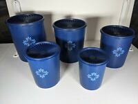 Vintage Set of 5 Tupperware Blueberry Dark Blue Servalier Canisters w/ Lids  EUC