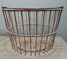 Primitive Farmhouse Egg Gathering Basket With Handle Faded Red Metal Wire Large