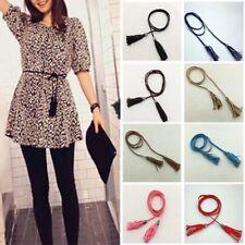 Stylish Women Knitted Long Leather String Waistband Braid Waist Belt With Tassel