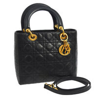 Auth Christian Dior Lady Dior Cannage 2way Hand Bag Black Leather Italy AK17135j