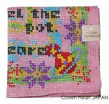 Vivienne Westwood Licensed Japan Handkerchief / Mini Scarf Pink Heart Knit Print