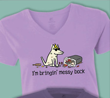 NEW TEDDY THE DOG PURPLE MESSY BACK SMALL T-SHIRT SHORT SLEEVE V NECK COTTON