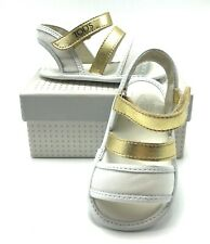 TOD'S BABY Italian Leather Sandals in Gold and White US SZ 5 - BRAND NEW!