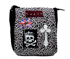 Pink & White Leopard Velvet Punk Sling Bag / Messenger Purse Gothic Deathrock