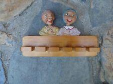 Vintage Anri Spoon Rack Holder Carved Wood Bobble Head Nodders Italy
