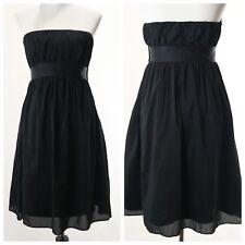 Gap Black Strapless Dress Size 6 Silk Blend Solid Womens Pockets Side Zip