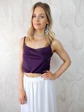 PURPLE CROP TOP Sz 10 Vintage 90s Retro Fashion Beach Cami Singlet Womens Office
